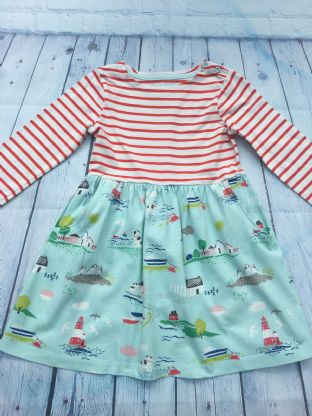 Mini Boden red and white striped hotchpotch seaside dress age 6-7